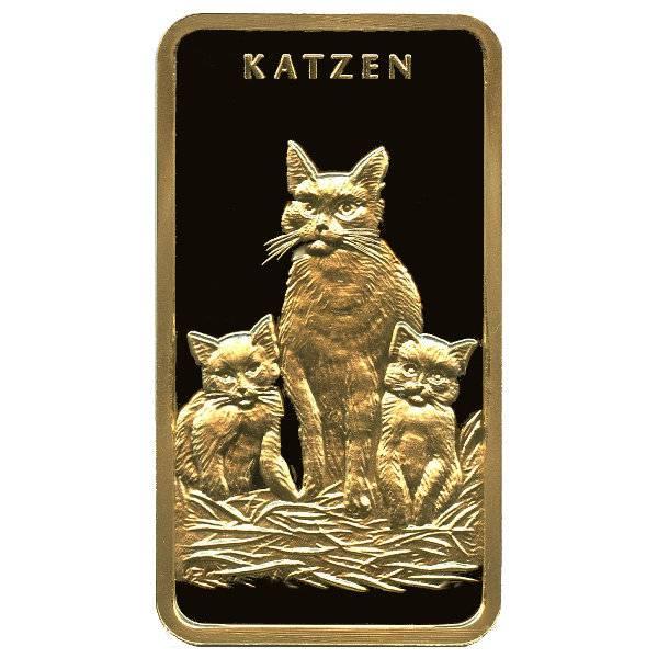 Gold Motivbarren Katzen MünzManufaktur