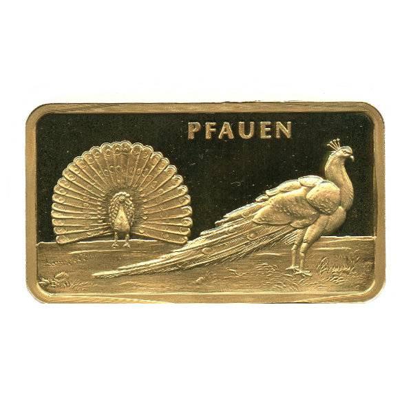 Motivbarren Pfauen - 1 Unze Gold - MünzManufaktur